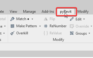 Revit pyRevit Tab